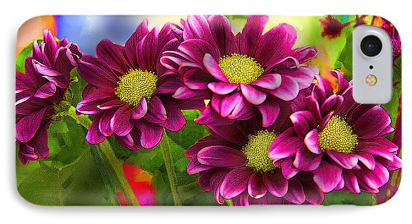 Magenta Flowers IPhone Case by Chuck Staley