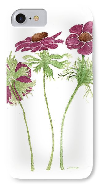 IPhone Case featuring the painting Magenta Wind Flowers by Nan Wright