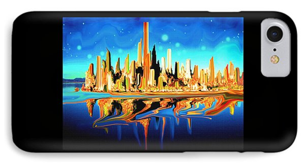 New York Skyline In Blue Orange - Abstract Art IPhone Case by Art America Gallery Peter Potter