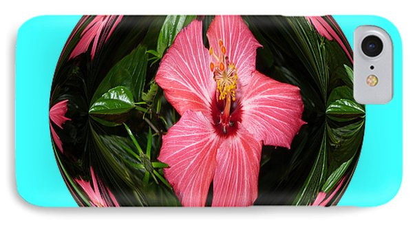 IPhone Case featuring the digital art Magic Hibiscus. Blue by Oksana Semenchenko