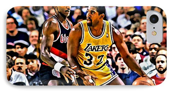 Magic Johnson Vs Clyde Drexler IPhone Case by Florian Rodarte