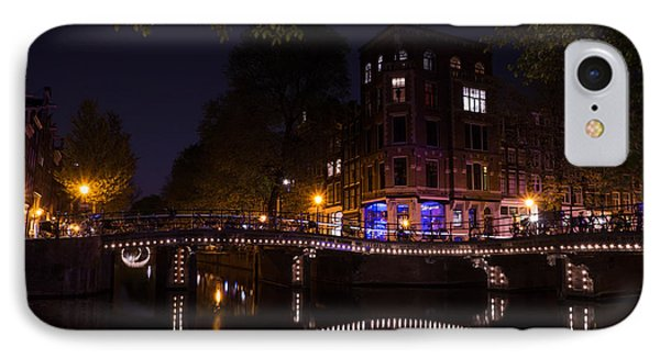 Magical Sparkling Amsterdam Canals And Bridges At Night IPhone Case