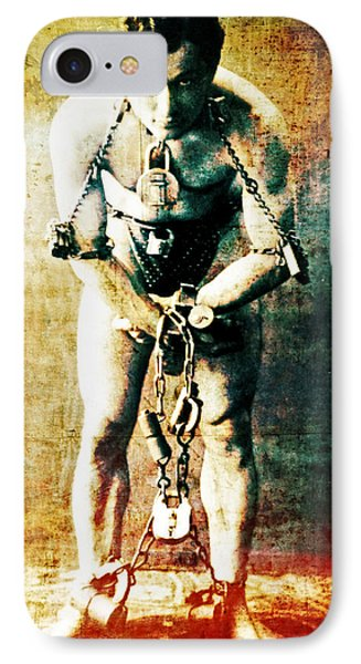 Magician Harry Houdini In Chains   Phone Case by Jennifer Rondinelli Reilly - Fine Art Photography