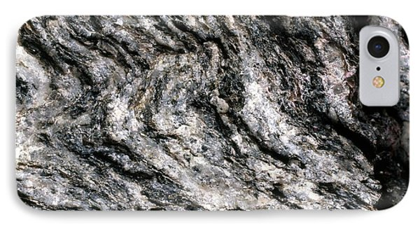 Magnification Of Grain Of Gneiss Rock IPhone Case by Dorling Kindersley/uig