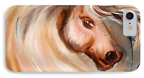 Magnificence- Colorful Horse- White And Brown Paintings IPhone Case by Lourry Legarde