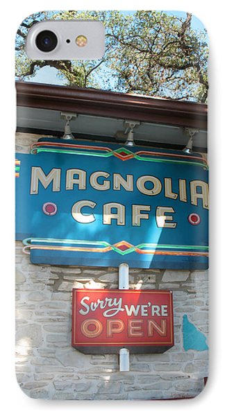 IPhone Case featuring the photograph Magnolia Cafe Sign In Austin by Connie Fox