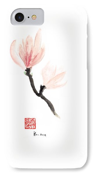 Magnolia Pink Flower Flowers Delicate Watercolor Painting IPhone Case by Johana Szmerdt