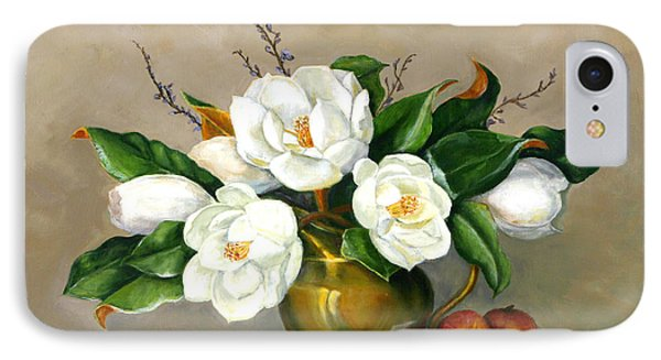 IPhone Case featuring the painting Magnolias - Southern Beauties by Sandra Nardone