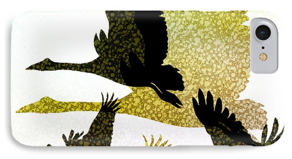 Magpie Geese In Flight Phone Case by Holly Kempe
