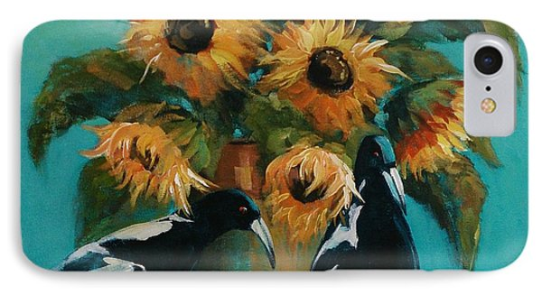 Magpies In Blue IPhone Case by Kathy  Karas