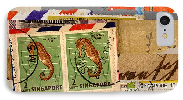 Mail Collage Singapore Seahorse IPhone Case by Carol Leigh