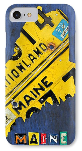 Maine License Plate Map Vintage Vacationland Motto IPhone Case