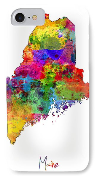 Maine Map IPhone Case by Michael Tompsett