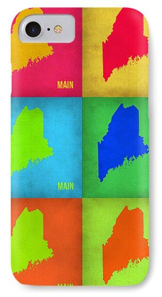 Maine Pop Art Map 1 IPhone Case by Naxart Studio