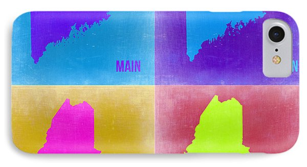 Maine Pop Art Map 2 IPhone Case by Naxart Studio
