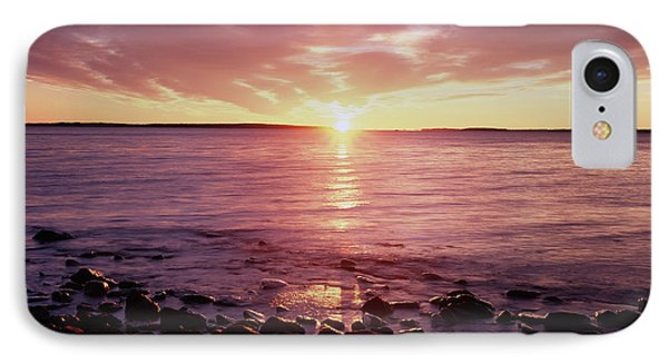 Maine, Sunrise Over The Rocky Shoreline IPhone Case by Christopher Talbot Frank