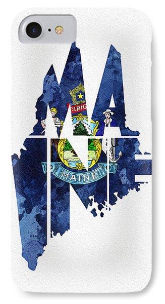 Maine Typographic Map Flag IPhone Case