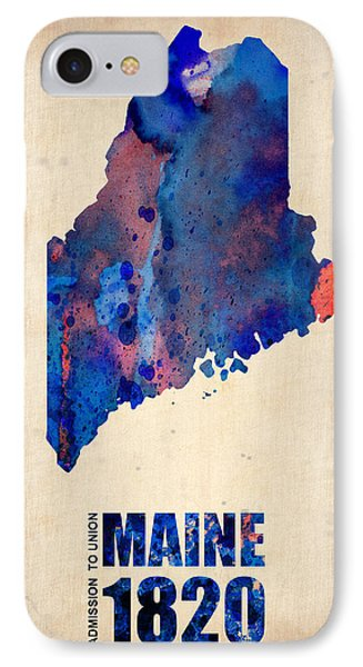 Maine Watercolor Map IPhone Case by Naxart Studio
