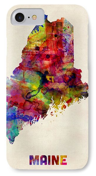 Maine Watercolor Map IPhone Case by Michael Tompsett