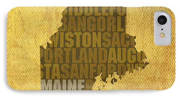 Maine Word Art State Map On Canvas IPhone Case