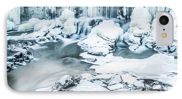 Maine's Winter Wonderland Tidal Waterfall IPhone Case by Stroudwater Falls Photography