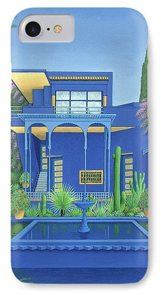 Majorelle Gardens, Marrakech, 1996 Carylic On Linen See 186509 IPhone Case by Larry Smart
