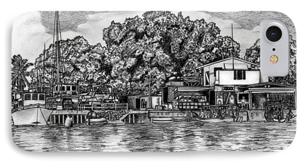 IPhone Case featuring the drawing Majuro Harbor by Lew Davis