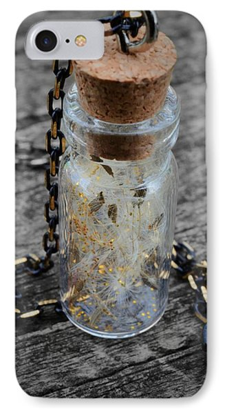 Make A Wish - Dandelion Seed In Glass Bottle With Gold Fairy Dust Necklace Phone Case by Marianna Mills