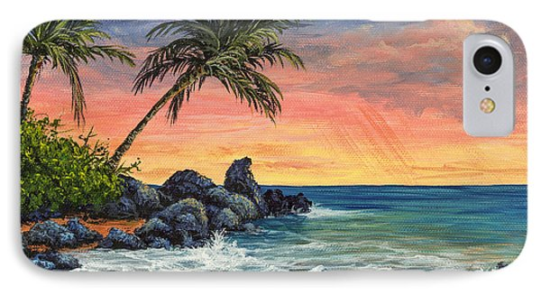 IPhone Case featuring the painting Makena Beach Sunset by Darice Machel McGuire