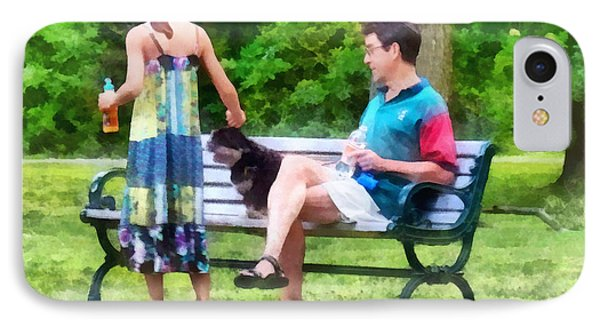 Making A New Friend In The Park Phone Case by Susan Savad