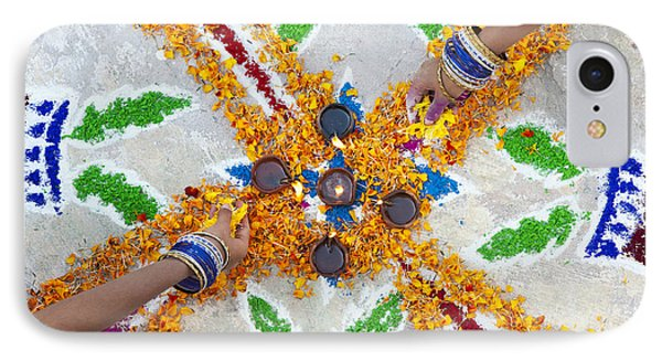 Making Rangoli With Flower Petals And Oil Lamps IPhone Case