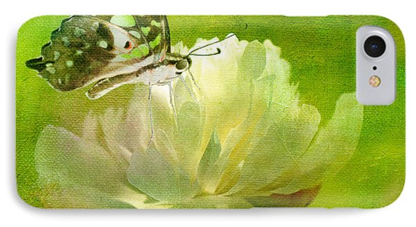 Malachite On Peony Phone Case by Lois Bryan