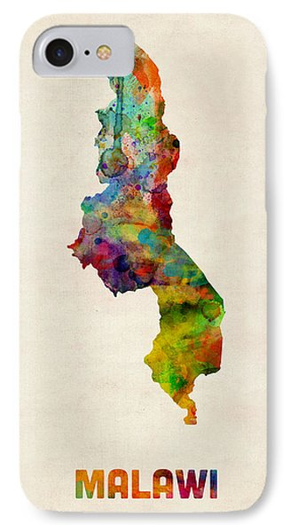 Malawi Watercolor Map Phone Case by Michael Tompsett