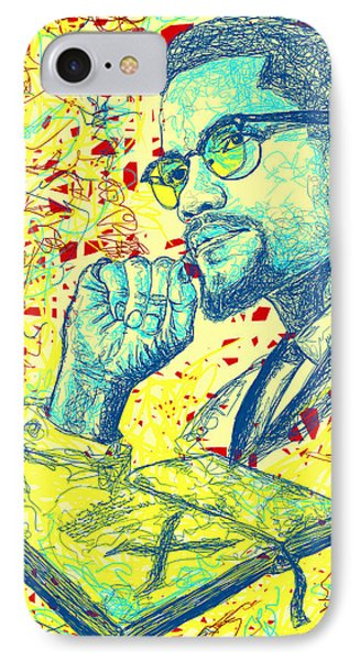 Malcolm X Drawing In Lines Phone Case by Kenal Louis