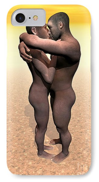 Male And Female Homo Erectus Hugging IPhone Case by Elena Duvernay