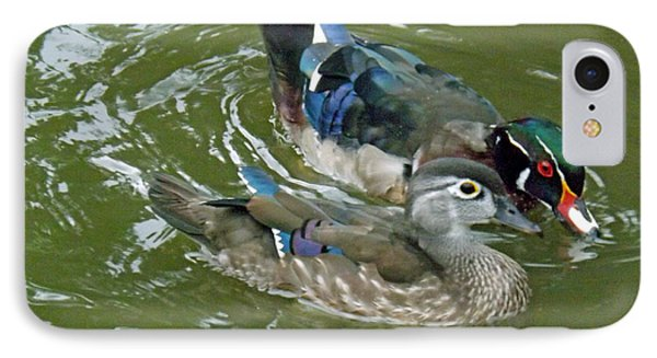 Male And Female Wood Ducks IPhone Case by Brenda Brown