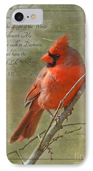 Male Cardinal On Twigs With Bible Verse IPhone Case by Debbie Portwood