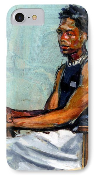 Male Figure Sitting IPhone Case by Stan Esson