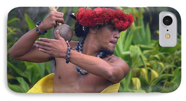 Male Hula Dancer With Small Gourd Instrument IPhone Case by Lori Seaman