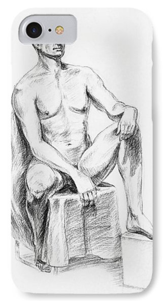 Male Model Seated Charcoal Study IPhone Case