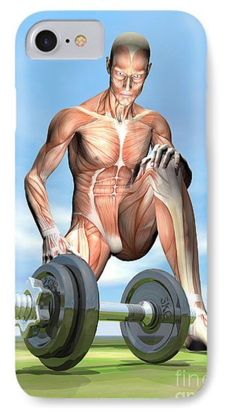 Male Musculature Looking At A Dumbbell IPhone Case by Elena Duvernay