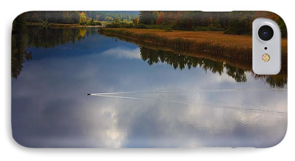 IPhone Case featuring the photograph Mallard Duck On Lake In Adirondack Mountains In Autumn by Jerry Cowart