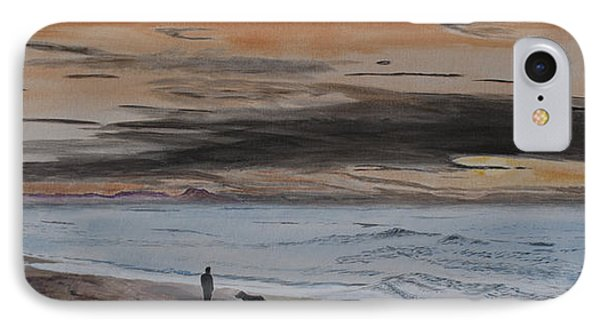 IPhone Case featuring the painting Man And Dog On The Beach by Ian Donley