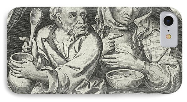 Man And Woman Eating Porridge, Nicolaes De Bruyn IPhone Case by Nicolaes De Bruyn And Claes Jansz. Visscher (ii)