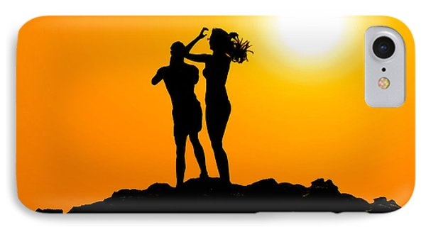 Man And Woman Silhouette At Sunset IPhone Case