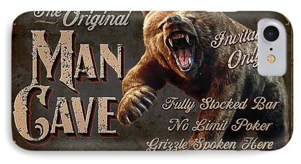 IPhone Case featuring the painting Man Cave Grizzly by JQ Licensing