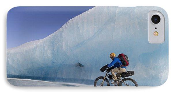 Man Fat Tire Mountain Biking On Ice At IPhone Case