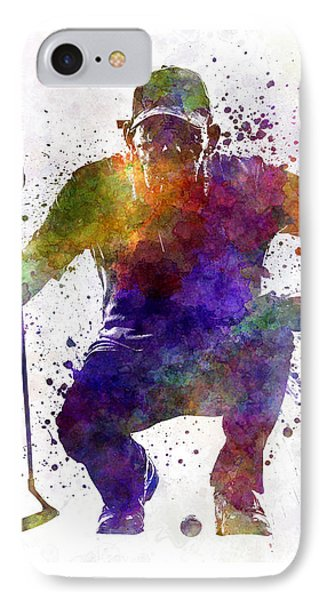 Man Golfer Crouching Silhouette IPhone Case by Pablo Romero