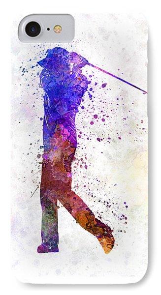 Man Golfer Swing Silhouette IPhone Case by Pablo Romero