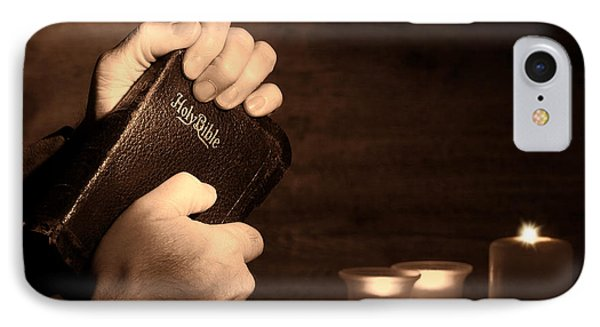 Man Hands And Bible Phone Case by Olivier Le Queinec